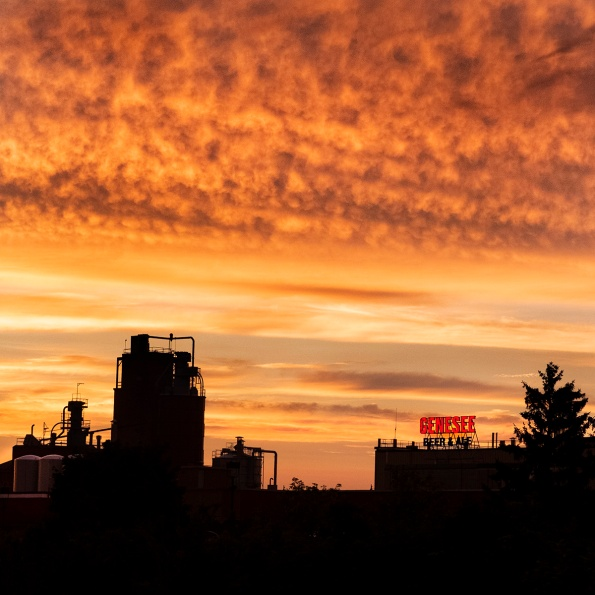 Genesee Brewery at sunset, July 2018