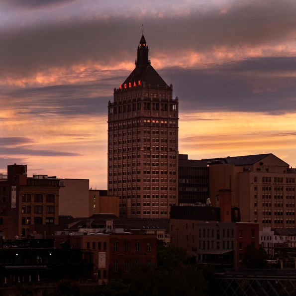 Kodak Tower at sunset, Rochester, July 2018